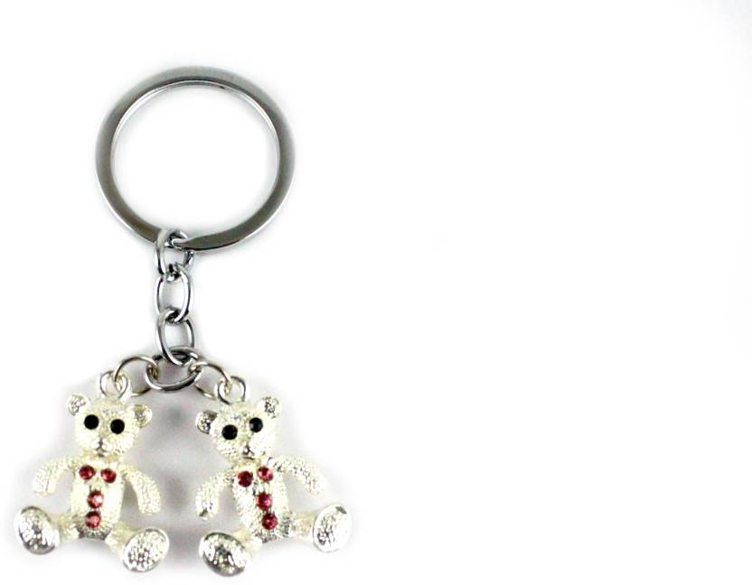 Target retail DOUBLE SILVER COLOR TEDDY KEYRING Key Chain