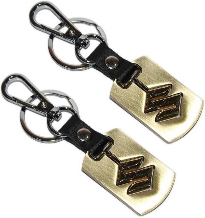 Parrk Maruti Suzuki Cars Logo Full Metal Imported Locking Key Chain (Gold) 581e57335012