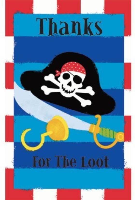 Amscan Pirates Treasure Thank You Cards Invitation Card