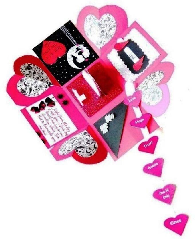 RMantra Love Theme Romantic Heart Explosion Box Greeting Card Red Pack Of 1