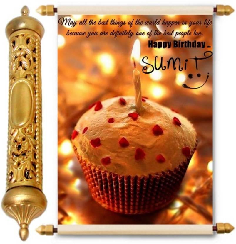 Lolprint Happy Birthday Sumit 24k Gold Scroll Greeting Card Price