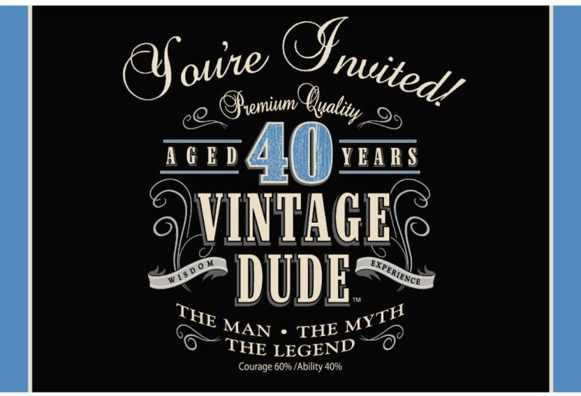 Creative Converting Vintage Dude 40th Birthday Party Invitation Card Blue Black Pack Of 8