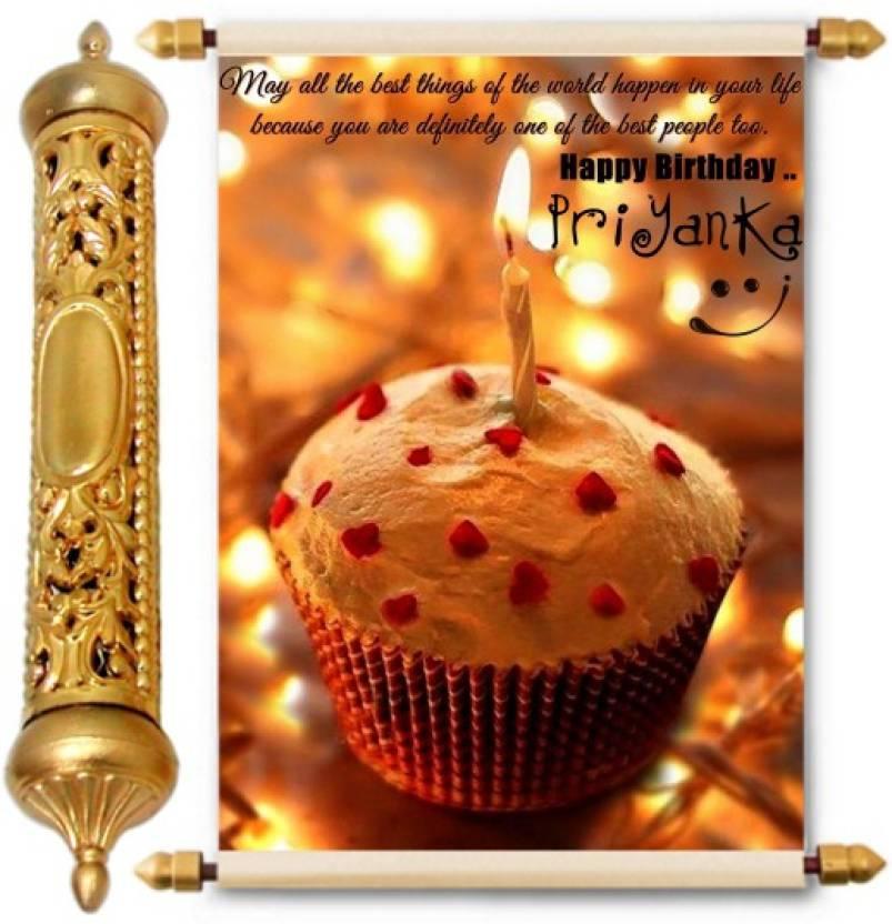 Lolprint Happy Birthday Priyanka 24k Gold Scroll Greeting Card Price