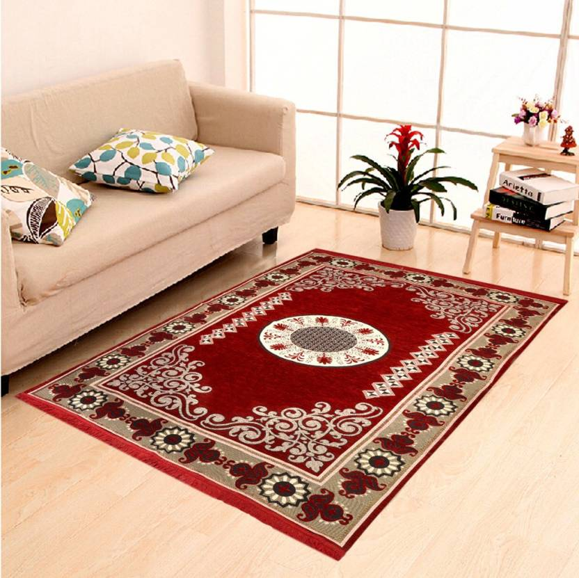 Upto 70% off On & Furniture By Flipkart | IWS Blue Polyester Carpet  (152 cm X 214 cm) @ Rs.949