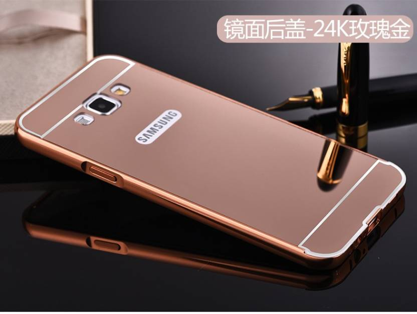 SMA Back Cover for SAMSUNG Galaxy J7, Metal Bumper Plus Acrylic Mirror Back Cover Case For Samsung Galaxy J7 (Rose Gold, Metal, Plastic)