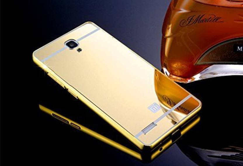 JKR Back Cover for JKR Luxury Metal Bumper + Acrylic Mirror Back Cover Case For XIAOMI REDMI NOTE /REDMI NOTE PRIME GOLD PLATED (Gold, Metal)