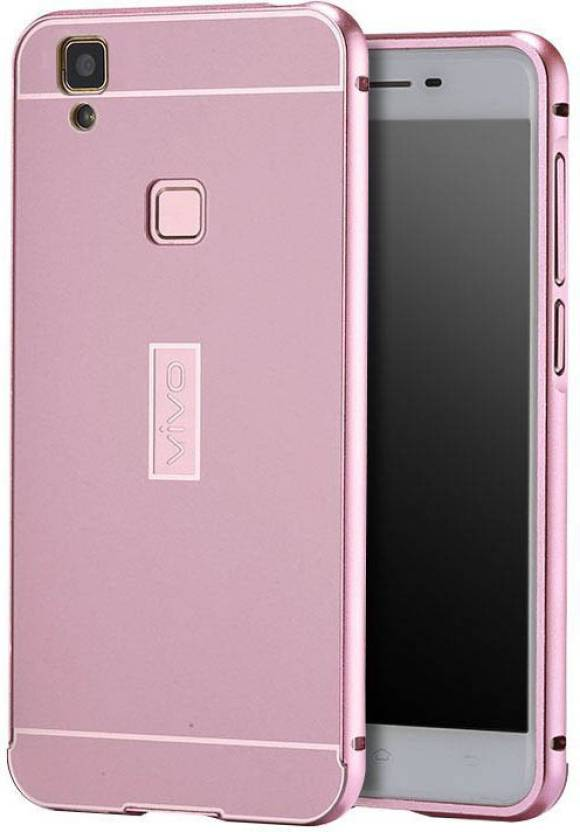 TRUE ACCESSORIES Back Cover for Metal Bumper Plus Acrylic Mirror Back Cover Vivo V1 Max Rose Gold (TRUE ROSE GOLD, Metal)