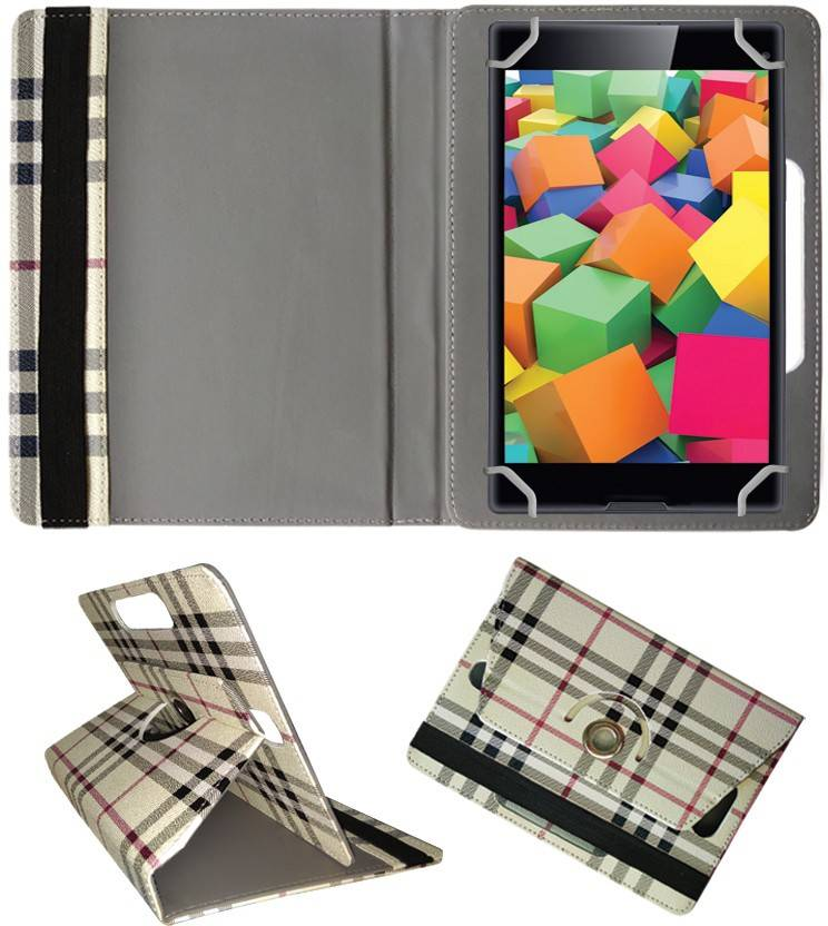 Fastway Book Cover for iBall Slide Cuboid 4G Voice Calling Tablet Cream