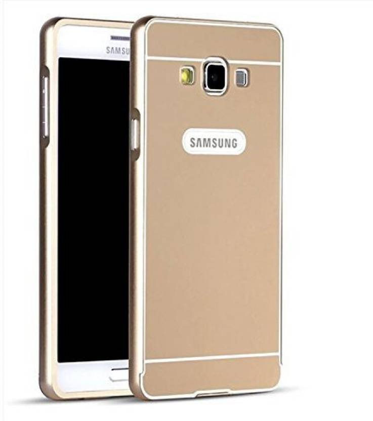 Fornya Bumper Case for Samsung Galaxy j7 (2015) (Mirror back bumper cover) ( Gold, Metal, Plastic)