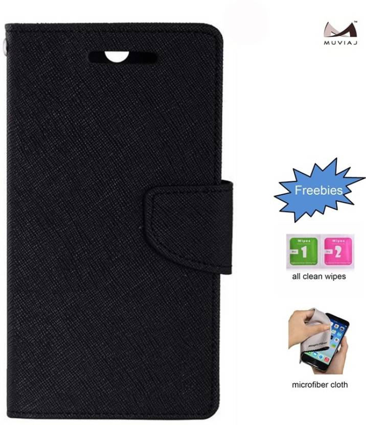 MUVIAJ Flip Cover for Micromax Yureka 5510 Black Flipcover