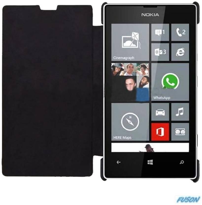 Nokia Lumia 520 Black Price Fuson Flip Cover for N...