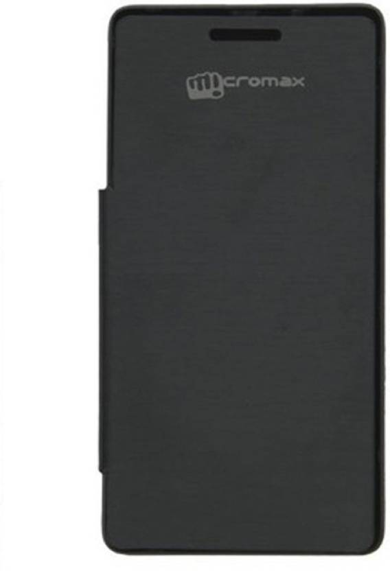 new style 0a9b4 38175 Canvas Flip Cover for Micromax Unite 2 A106 Black