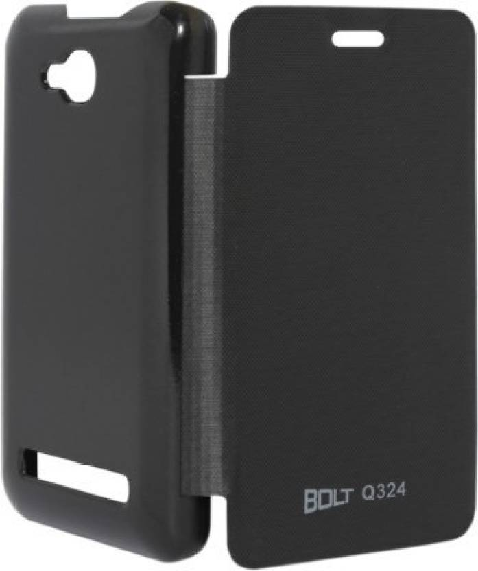 Vvage Flip Cover for Micromax Canvas Bolt Q324 Black