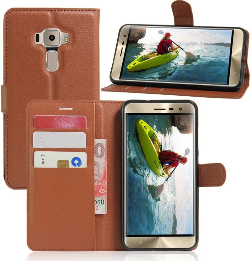 iMob Wallet Case Cover for Asus ZenFone 3 Deluxe ZS570KL Brown