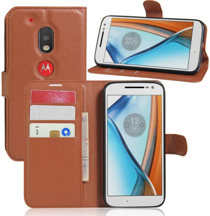 iMob Wallet Case Cover for Motorola Moto G4 Play Brown