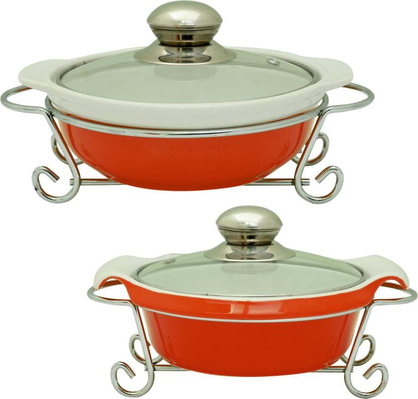 Rosa Italiano Gusto Ceramic Handi Serving Bowl Pack Of 2 With