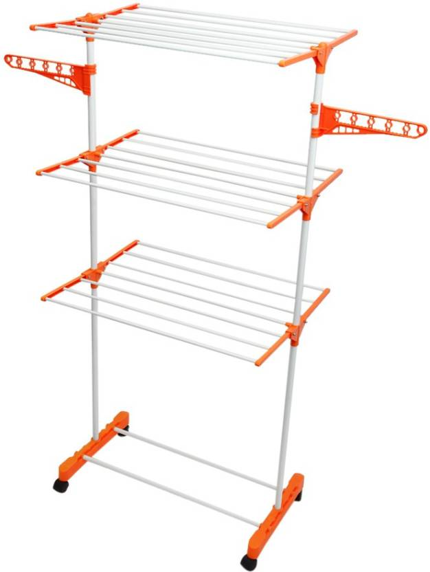 Upto 60% Off On Housekeeping & Laundry By Flipkart | Bathla Mobidry 3 Tier Stainless Steel Floor Cloth Dryer Stand  (Orange, White, Pack of 1) @ Rs.1,949