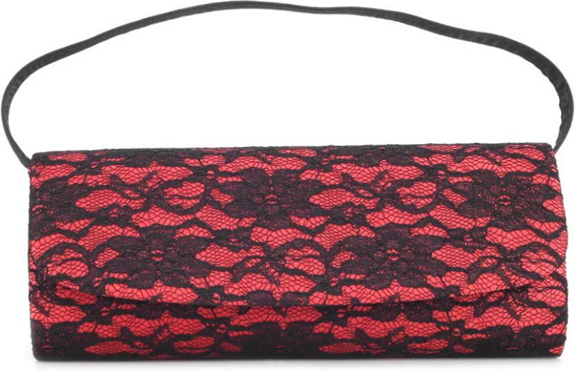 ToniQ Women Casual Red, Black  Clutch