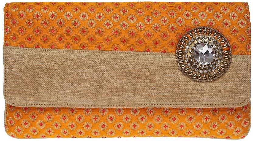 Kashish Women Casual, Wedding, Festive Orange  Clutch