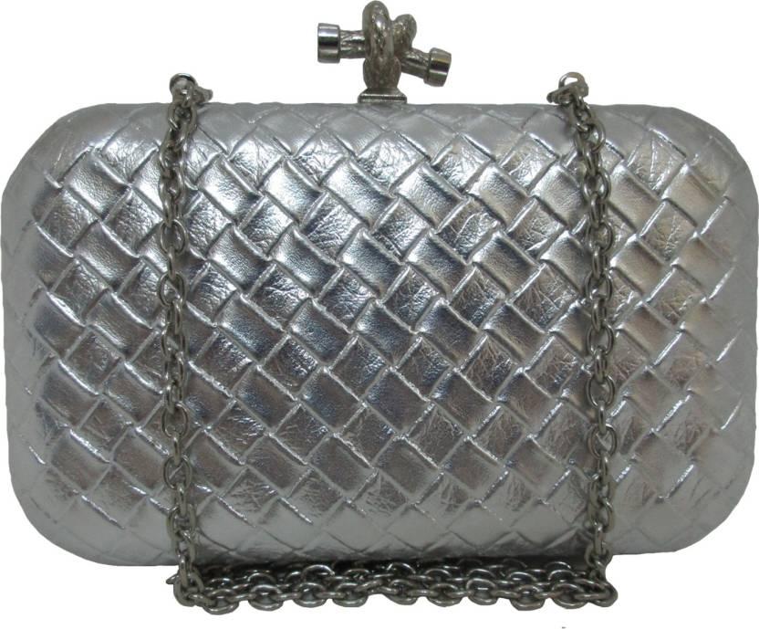 Hyna design Women Casual Silver  Clutch