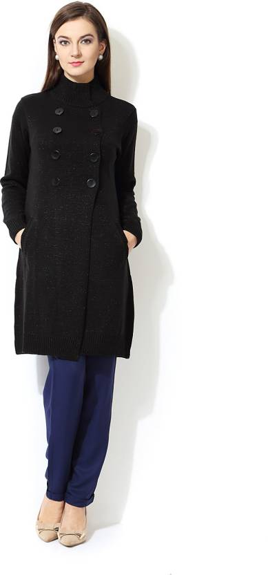 48f6257f4 Annabelle by Pantaloons Women s Double Breasted Coat - Buy Black Annabelle  by Pantaloons Women s Double Breasted Coat Online at Best Prices in India  ...