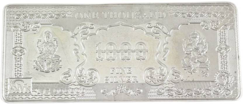 925 Silver 1000 Rs Note S 995 9 g Silver Coin