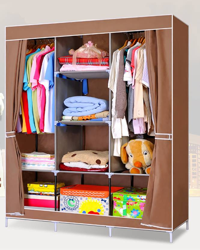 d02efdd1291 Evana Coffee Curtain Carbon Steel Collapsible Wardrobe (Finish Color -  Brown)