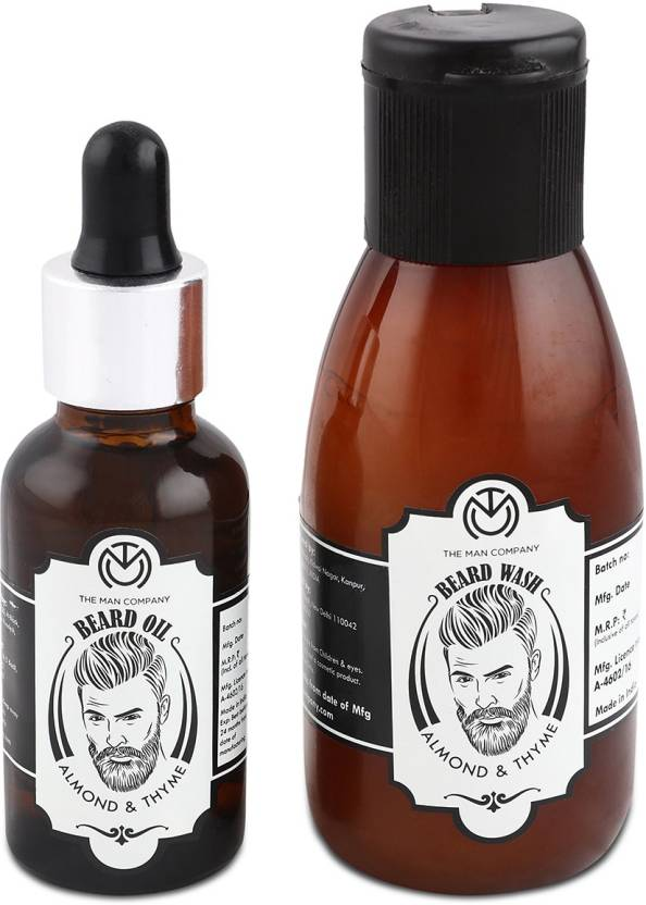 The Man Company Almond and Thyme Beard Oil (30ml) & Wash Combo (100ml)