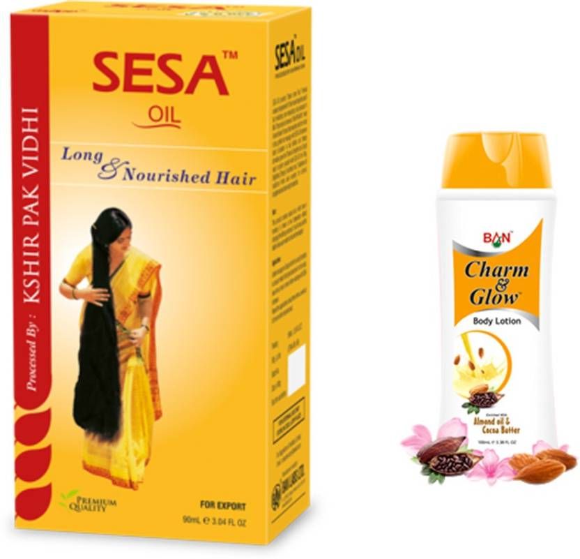 Ban Lab Sesa Hair Oil with Glow and Charm Body Lotion Price in India ... f6e90f33cdf1b