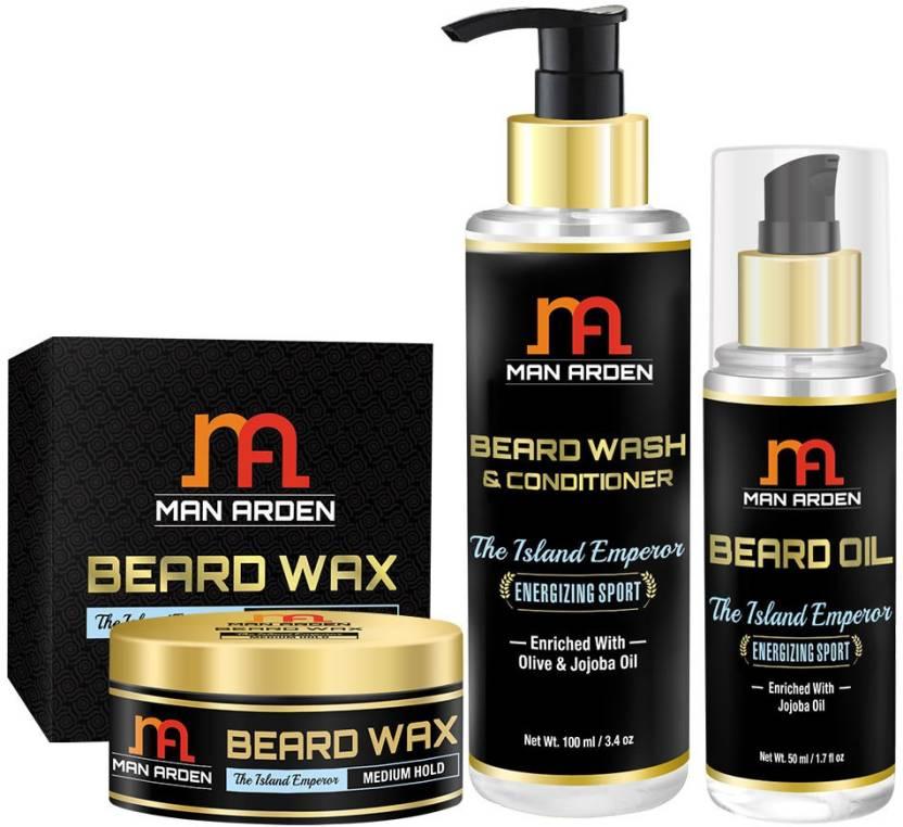 Man Arden Beard Wax + Beard Wash (Shampoo) + Beard Oil (The Island
