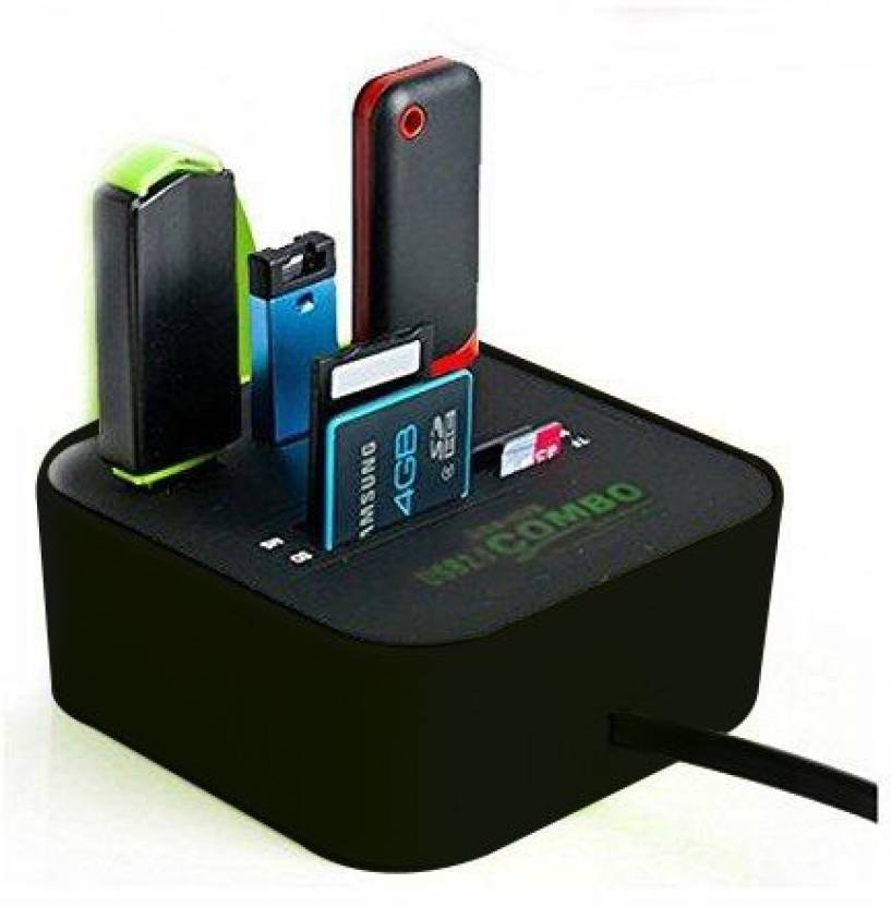 NewveZ All In One COMBO 3 Port With Multi Card Reader Black USB Hub Black