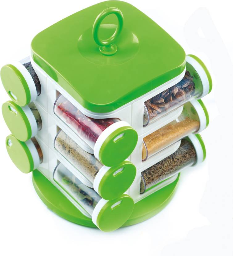 Jony multipurpose revolving spice rack 12 piece condiment for Kitchen set on flipkart