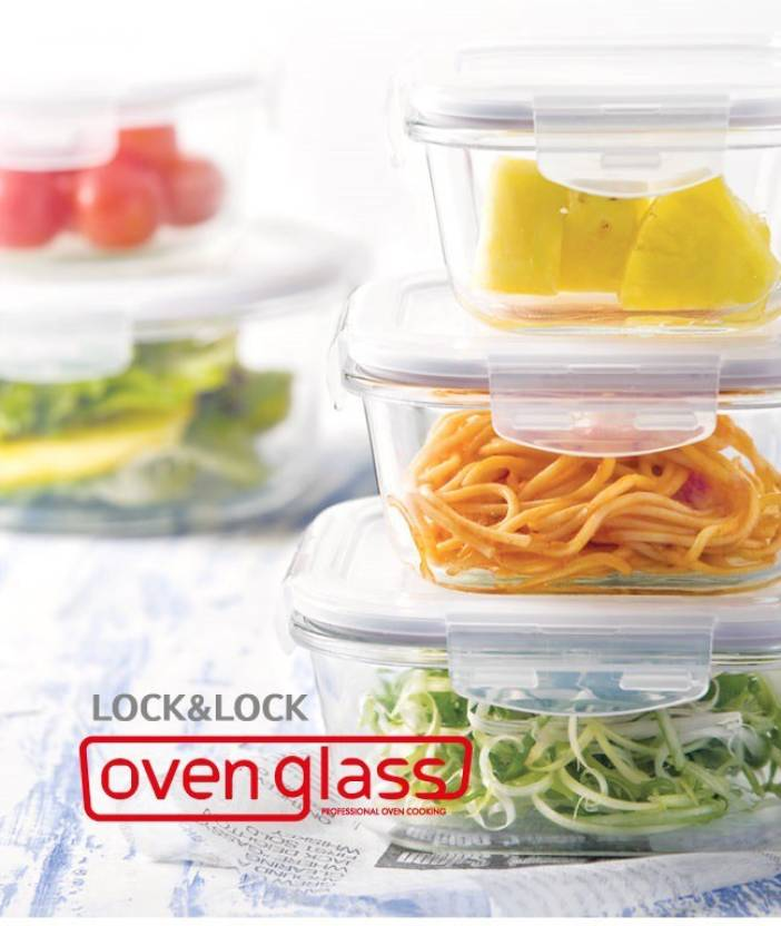 Lock & Lock Oven Set  - 300 ml, 500 ml, 380 ml, 2 L, 630 ml, 650 ml Glass Multi-purpose Storage Container(Pack of 12, Clear)