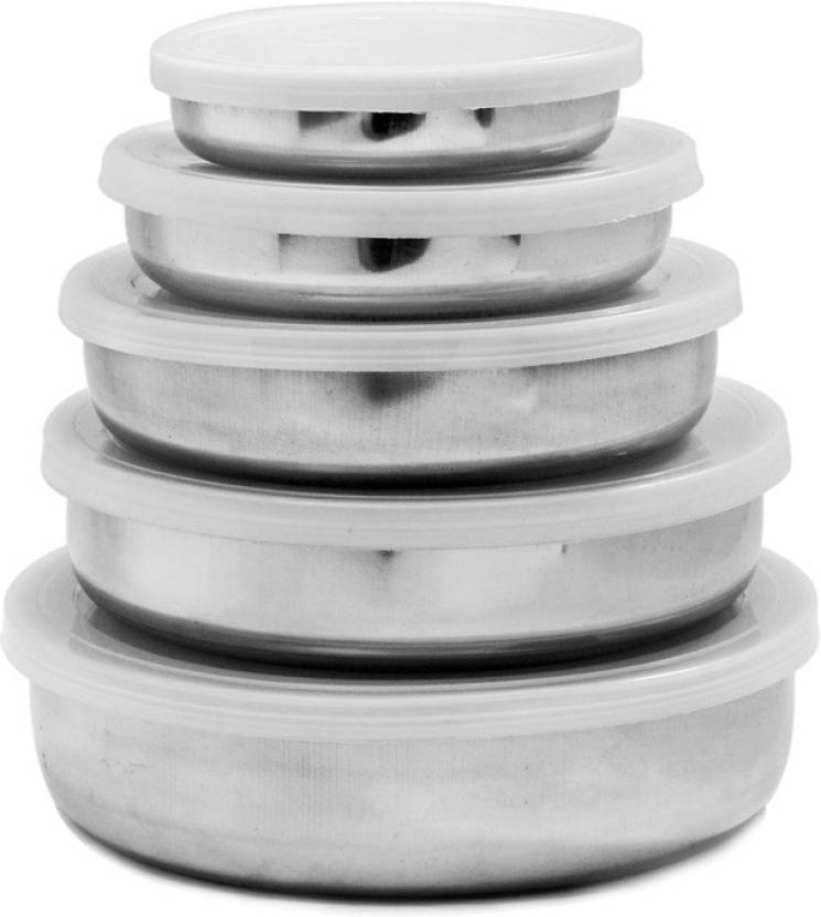 Minimum 40% Off On Stainless Steel Range By Flipkart | Gold Luck Mlt-201 - 150 ml, 250 ml, 400 ml, 600 ml, 950 ml Stainless Steel Food Storage  (Pack of 5, White) @ Rs.179
