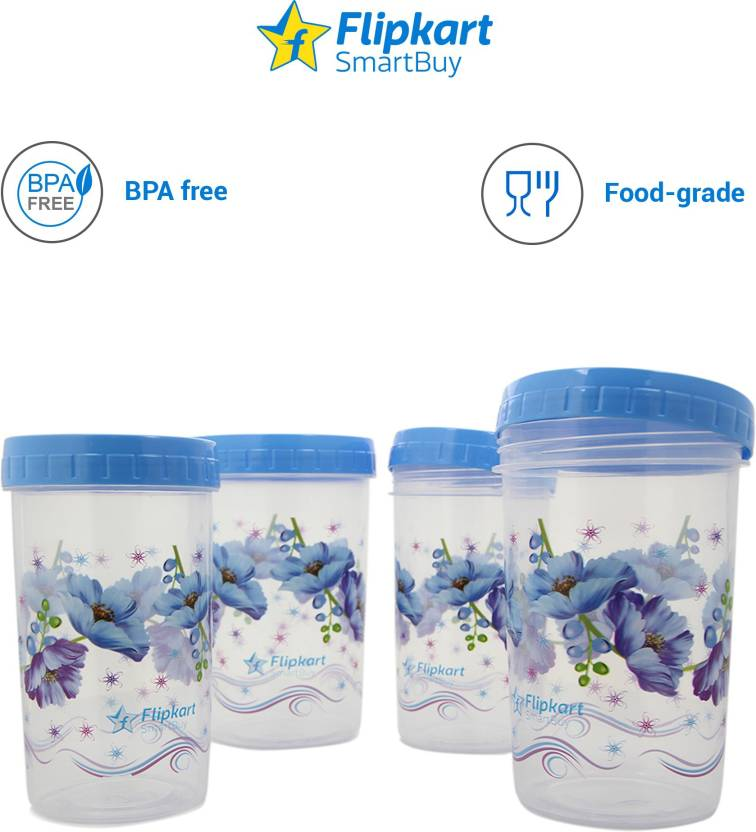 Kitchen Containers From @ Rs.249 By Flipkart   Flipkart SmartBuy 4 Piece Kitchen Storage Containers  (Pack of 4, Blue) @ Rs.285