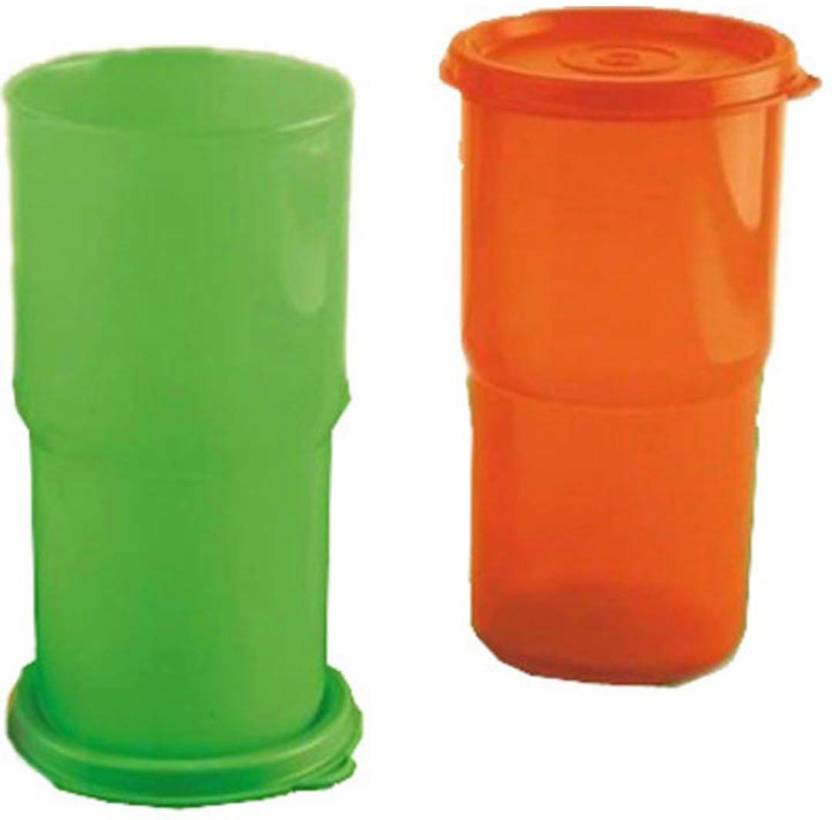 a563a2d39e2 Tupperware Legacy Tumbler - 300 ml Steel Grocery Container (Pack of 2,  Orange, Green)