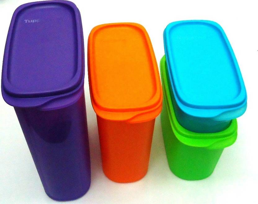 Tupperware Smart Saver #1, #2, #3 And # 4(1pc Each) - 500 ml, 1.1 L, 1.7 L, 2.3 L Polypropylene Grocery Container (Pack of 4, Multicolor)