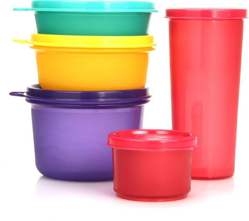 Polyset Food Saver Combi - 100 ml, 170 ml, 300 ml, 350 ml, 450 ml Plastic Fridge Container  (Pack of 5, Multicolor)