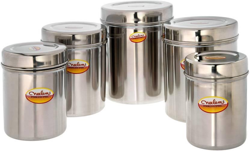 Neelam kitchen storage deep dabba set of 5 s10 s14 10000 for Kitchen set on flipkart