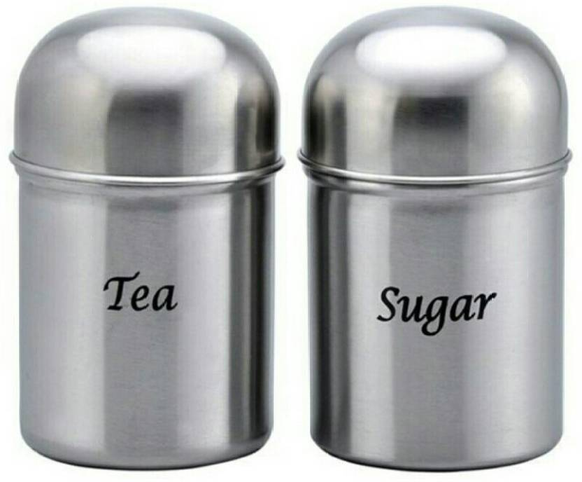 Kitchen Palace Tea Sugar Container Set Of 2 550 Ml Steel