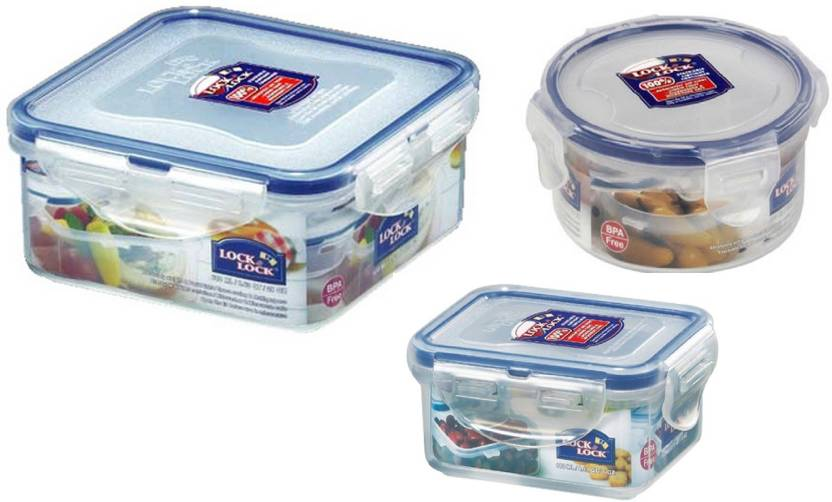 Lock & Lock - 600 ml, 180 ml, 300 ml Polypropylene Grocery Container (Pack of 3, Clear)