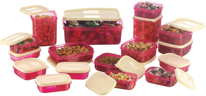 Kitchen & Dining Solutions Under Rs.499 By Flipkart | MasterCook 17 Pieces Pink - 200 ml, 330 ml, 1630 ml, 150 ml, 500 ml, 700 ml Polypropylene Food Storage  (Pack of 17, Pink) @ Rs.299