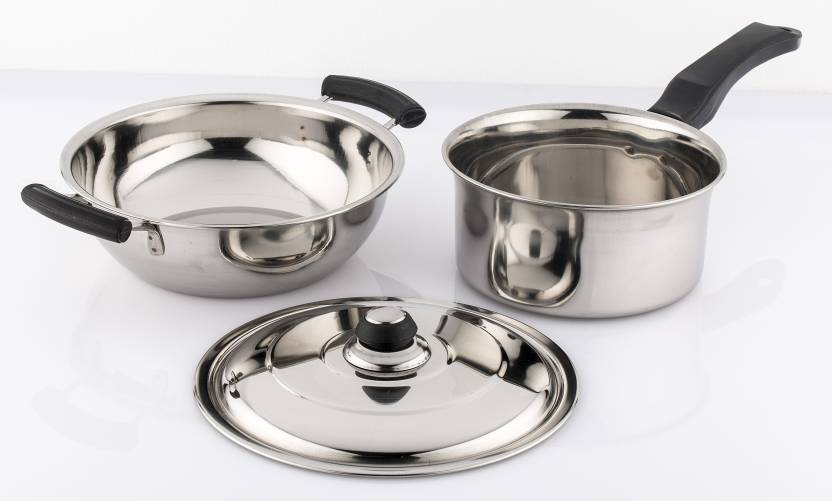 488768c77e3 Mahavir Induction   Lpg Compatible Induction Bottom Cookware Set (Stainless  Steel