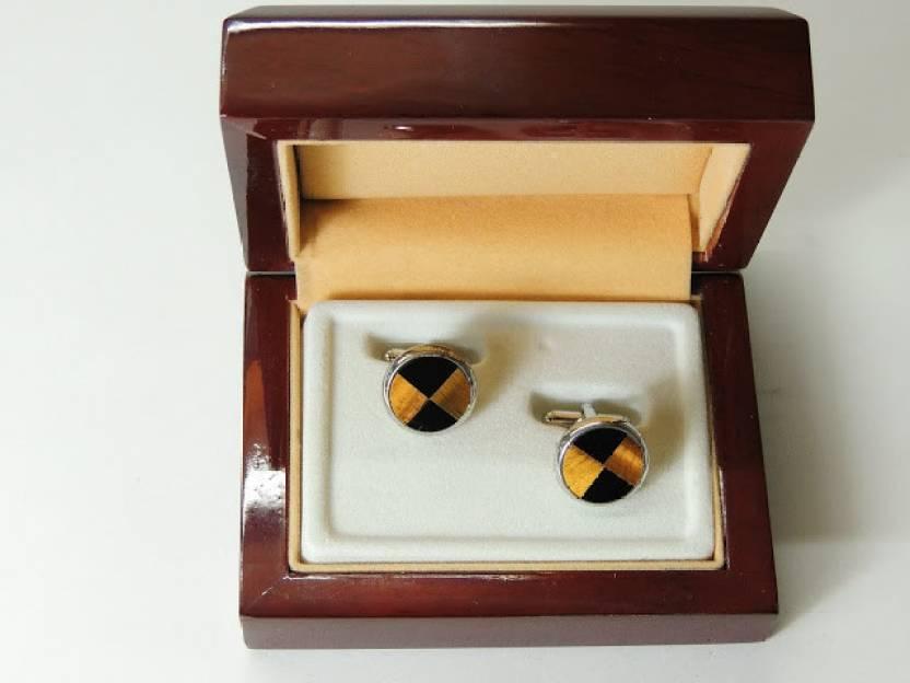 John Ledlie Premium Black and Brown Round Enamel cufflinks