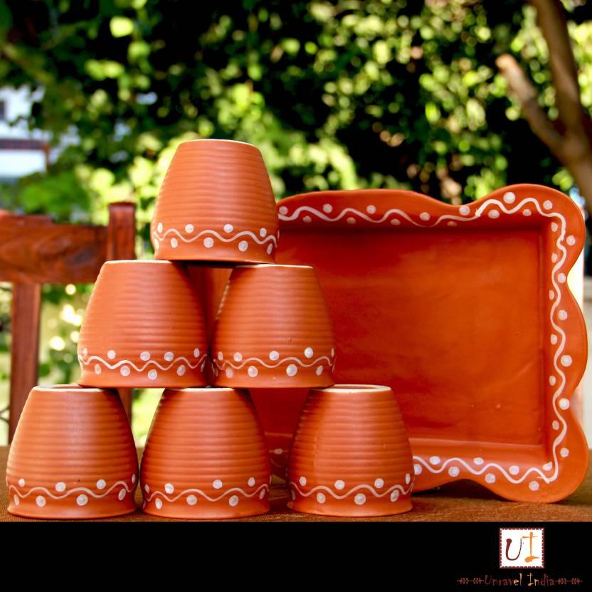 Unravel India Unravel India Earthen Ceramic Kulhad with Ceramic Tray(Set of 6) 00000030