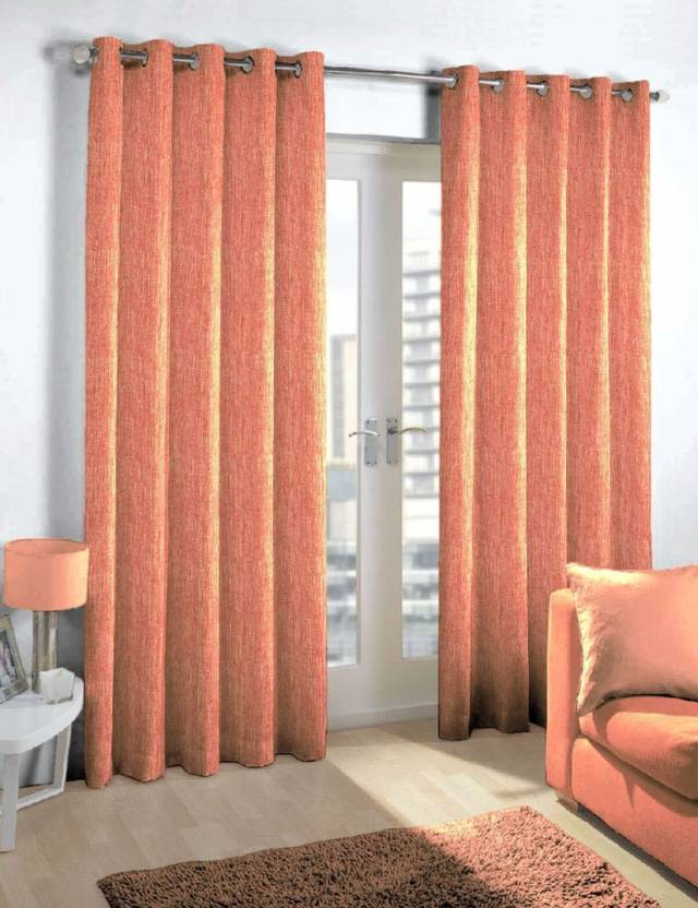 Skipper 275 cm  9 ft  Blends Long Door Curtain Single Curtain Abstract, Red