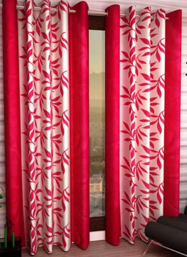 Italian Fab Polyester Pink Floral Eyelet Door Curtain
