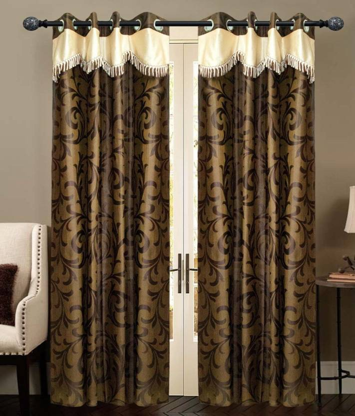 New Ladies Zone 210 cm  7 ft  Polyester Door Curtain  Pack Of 2  Floral, Brown