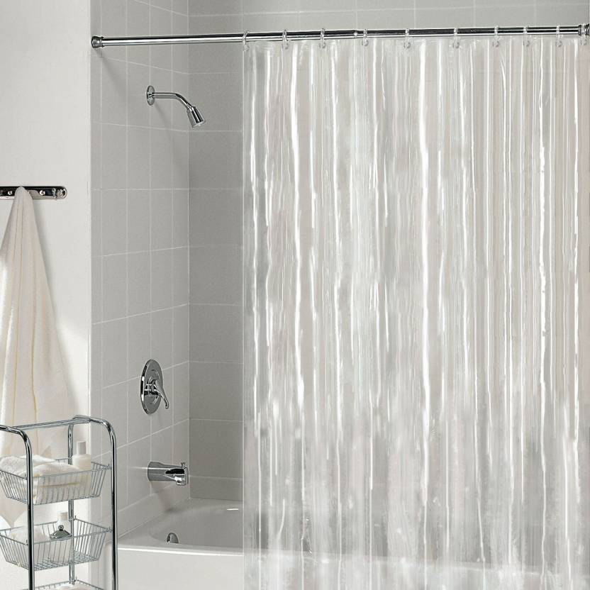 Susi Creation 90 Inch 3 Ft PVC Shower Curtain Single Solid Transpirint