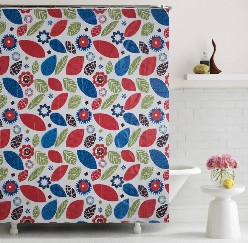 Home Candy 180 Cm 6 Ft PVC Shower Curtain Single Abstract Multicolor